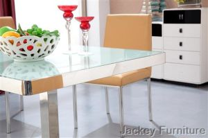 (ST-164) Stainless Steel Glass Dining Table pictures & photos