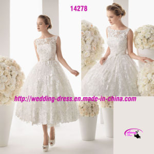 New Style Gown Wedding Dress with Round Neckline pictures & photos