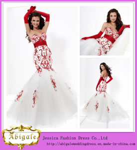 2014 Charming Mermaid Sweetheart Sleeveless Embroidery Wedding Dress Mermaid Strapless White Red (hs018)