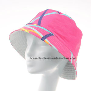 Promotional Custom Made Pink Printed Cotton Cute Fashion Sunhat Bucket Hat Cap pictures & photos