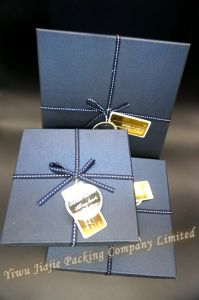 Square Gift Box Set Decorated with Ribbon and Tag