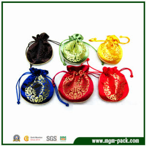Mini Luxury Satin Drawstring Jewelry Bag with Classical Pattern pictures & photos