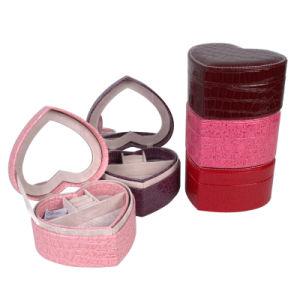 Crocodile PU Leather Hearted Shape Jewelry Boxes / Jewel Box