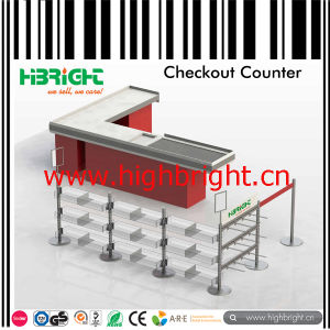 Cashier Table with Lane Display Shelf for Access Control and Promotion pictures & photos