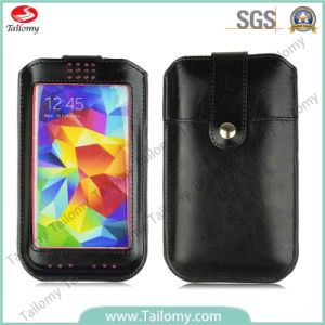 Universal Leather Cell Phone Case for LG L Fino with Card Pocket