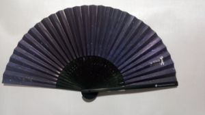 Double Sides Printing Black Handle Bamboo Fans with Rib Printing pictures & photos