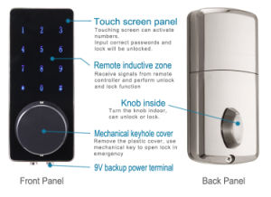 Keyless Touchscreen Password Remoted Bluetooth Lock in Zinc Alloy pictures & photos