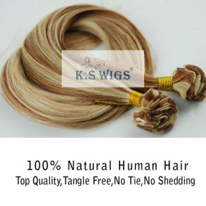 Brazilian Hand Tied Hair Hand Made Hair Weft pictures & photos