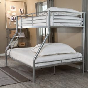 Twin Over Full Metal Bunk Bed in White /Sliver Finsh pictures & photos