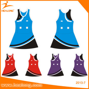 Healong Yellow Color Sublimation Cheap Women Bodysuit Netball Dresses pictures & photos