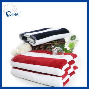 Blue Striped Cotton Bath Towel (QHD8894)