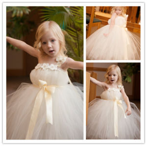 2014 Lovely Ball Gown Ankle Length Sleeveless One Shoulder with Hand-Made Flower Tulle Flower Girl Dresses (HS082) pictures & photos