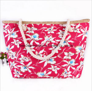 Printed Canvas Shoulder Bag Fashion Large Capacity Canvas Mummy Bag Cotton Rope Handbag Beach Bag pictures & photos