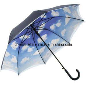 Inside Full Printing Double Canopy Umbrella, Straight Umbrella with Sky Pattern Inside