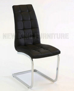 Modern Luxurious Chrome Steel Foot PU Leather Dining Chair (NK-DC080)
