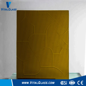 3-6mm Amber Puzzle Patterned Glass with CE&ISO9001 pictures & photos