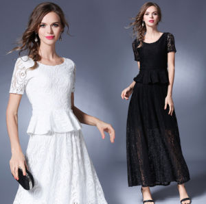 New Model Fashion Summer Short Sleeves Lace Big Skirt Long Lady′s Dress