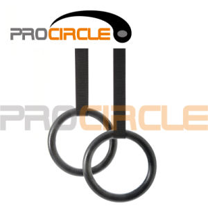 Crossfit Training Black ABS Gymnastic Ring with Strap (PC-GR1003) pictures & photos