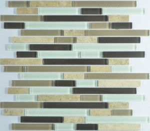Stripe Glass Mosaic Mix with Stone Mosaic pictures & photos