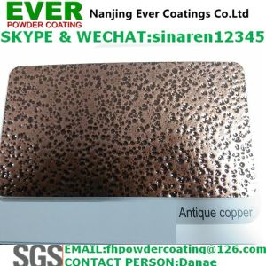 Epoxy Polyester Art Type Metallic Powder Coating with Copper on Black Groud Wrinkle Texture Finish pictures & photos