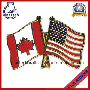 Double Flag Lapel Pins with Hard Enamel pictures & photos