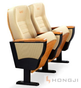 Beige Fabric Auditorium Theatrechair, Solid Wood Armrest Theater Seating pictures & photos