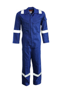 Blue Cotton Fire Retardant Reflcective Safety Workwear Coverall pictures & photos