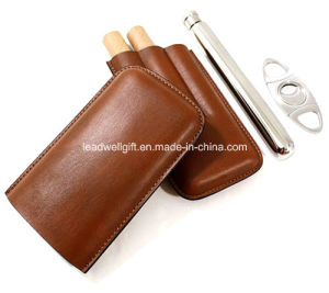 3 Tubes Crocodile Genuine Leather Portable Black Cigar Humidor pictures & photos