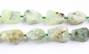 Natural Prehnite Faceted Nuggets Gemstone Beads (SL72790)