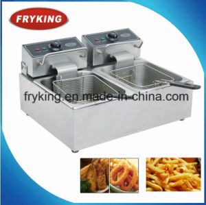 Counter Top Dual Tank Electric Fryer for Restaurant pictures & photos