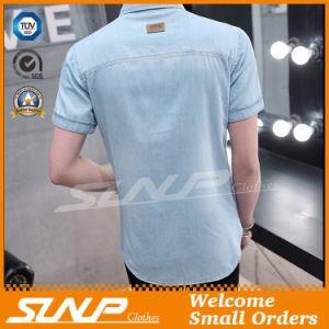 Indigo Color Short Sleeves 100% Cotton Men T Shirts