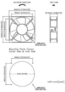 230V/200X200X60mm Aluminum Die-Cast Ec Fans pictures & photos