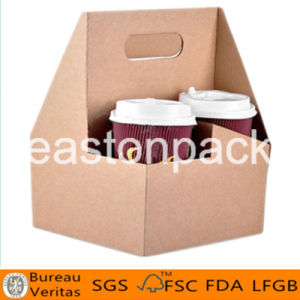 Disposable Take Away Portable 4-Cup Kraft Paper Coffee Cup Holder pictures & photos