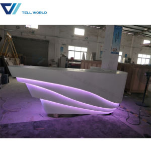 Round Shape LED Light Marble Top Reception Counter pictures & photos