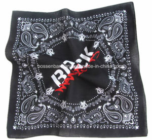 China Factory OEM Produce Customized Design Print Cotton Black Paisley Scarf pictures & photos