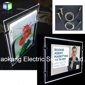 Window Hanging Crystal Picture Frame Landscape LED Light Box for Real Estate Agent Advertising Sign Holder pictures & photos