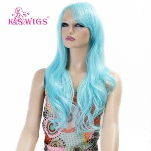 Synthetic Wig Blond Curly Long Hair Machine Made Cap (KS-1003) pictures & photos