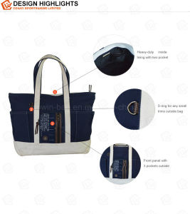 20oz Cotton Canvas Lady Shopping Tote Bag with Leather Trims pictures & photos