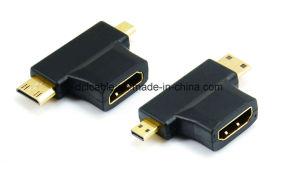 HDMI Female to Mini HDMI Male to Micro HDMI Male Adapter pictures & photos