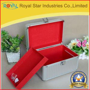 Aluminum Alloy Sliver Stripe Carry Double-Deck Makeup Box