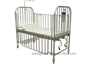 Sjb005 Stainless-Steel High Rail Children Bed with Two Revolving Levers