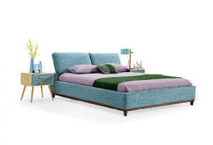 Nordic Simple Leather Fabric Bed Home Furniture (HC831) pictures & photos