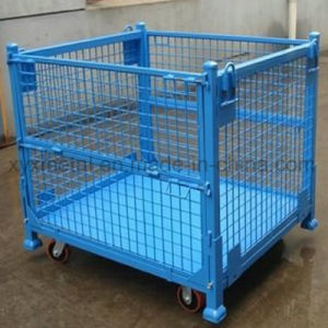 Warehouse Industrial Foldable Storage Steel Wire Mesh Stacked Stillage Cage pictures & photos