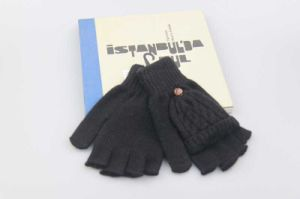 Black Half Finger Flip Gloves, Acrylic Knitted Gloves Fashion Accessory for Men pictures & photos