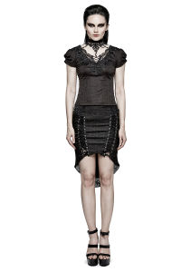 T-454 Gothic Swallow Tail Jacquard Short Sleeve Lace T-Shirt pictures & photos