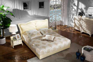 2016 Upholstered Leather King Size Bed for Home (LB-035) pictures & photos