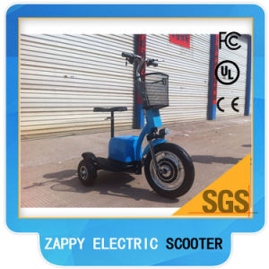 Front in Wheel Motor 500W 48V Brushless Three Wheel Electric Scooter pictures & photos
