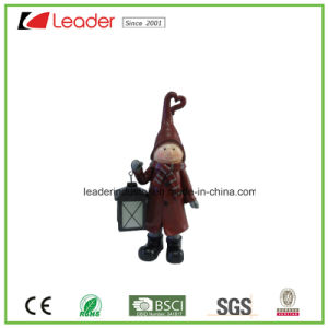 Polyresin Xmas Girl Figurine with a Lantern for Christmas Decoration pictures & photos