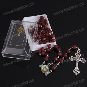 Hot Sale 6mm Red Fragrant Wood Rosary Beads, Cheap Religious Necklace