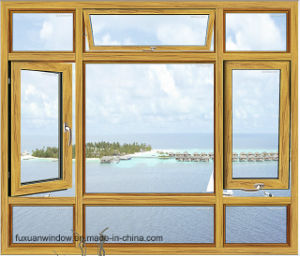 China Wood Grain Finish Aluminium Casement Window pictures & photos